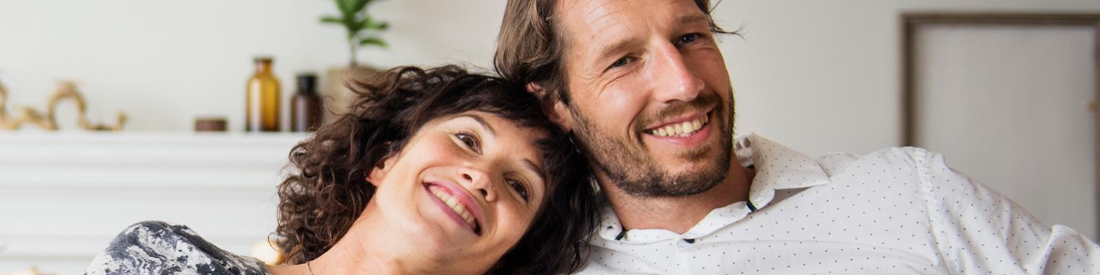 relaxed young couple with medical insurance