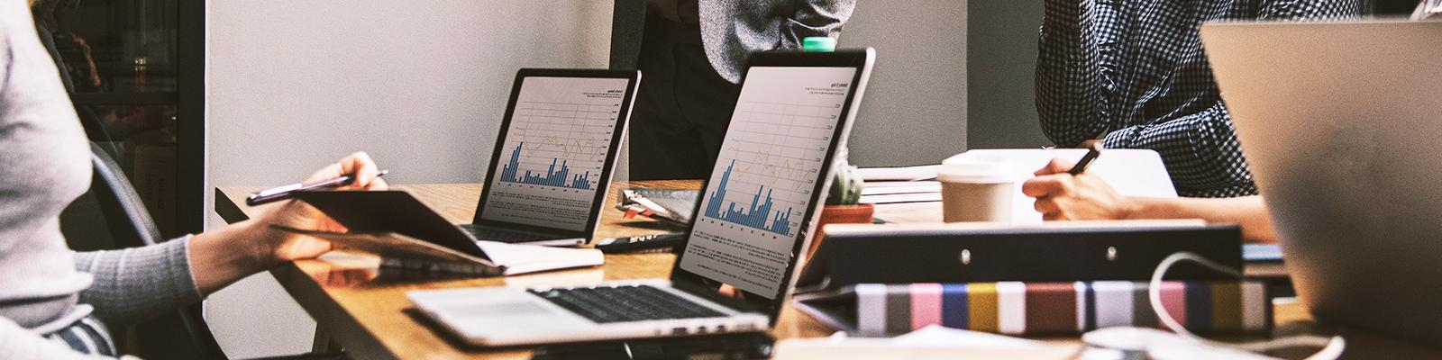 investment management data on laptop